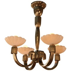 French 1920s Chandelier in Style of Emile-Jacques Ruhlmann