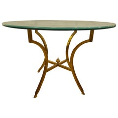 Hollywood Regency Style Glass Top Bronze Based Center Table or Dining Table