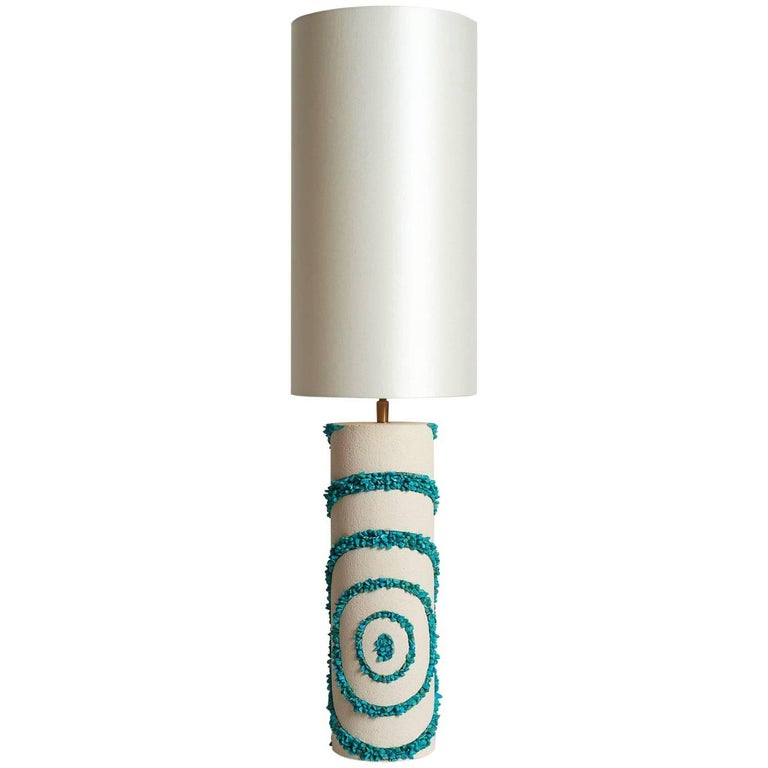 White Ceramic and Turquoise Howlite Lampe by Stdo