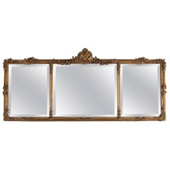 French Louis XIV Style Giltwood Triptych Beveled Wall Mirror, 20th Century