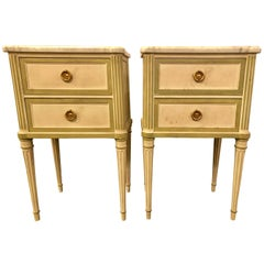 Pair of Louis XVI Style Paint Decorated Marble Top End Tables or Nightstands