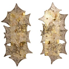 Pair of Sconces in Murano Glass Plaques in the Style of Barovier