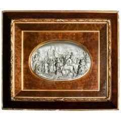Cast High Relief Gothic Village Scene in Gilt and Burl Frame, 19th Century