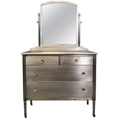 Simmons Sheraton Series Brushed Steel Dresser with Mirror