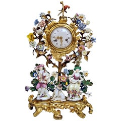 Meissen Mantel Table Clock Bronze Porcelain Flowers Figurines by Kaendler 1770