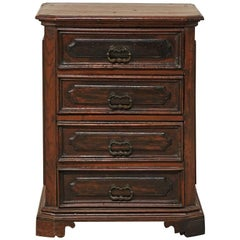 Late 18th Century Italian Four-Drawer Petite Rich Walnut Wood Commode