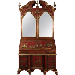 Red Chinoiserie Secretary