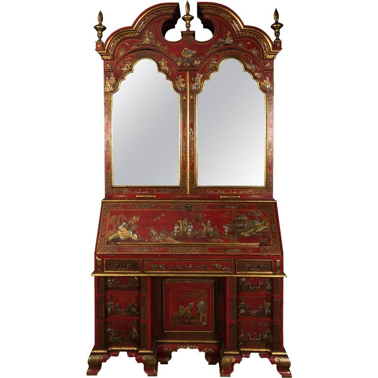Red Chinoiserie Secretary 20th Century Reproduction
