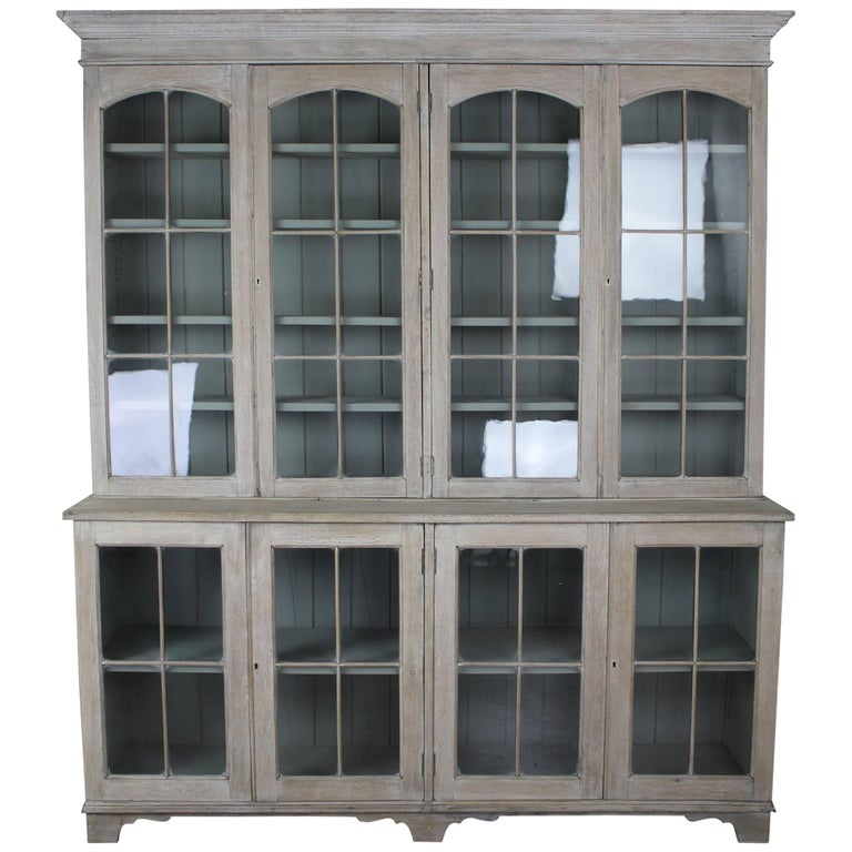 English Bleached Oak Library Bookcase For Sale