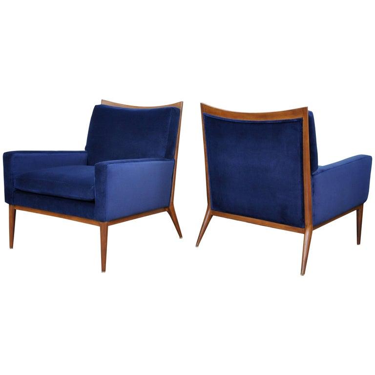Pair of Paul McCobb for Directional Blue Velvet Lounge Chairs