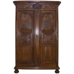 19th Century Louis XIV Style Walnut French Armoire, circa 1820