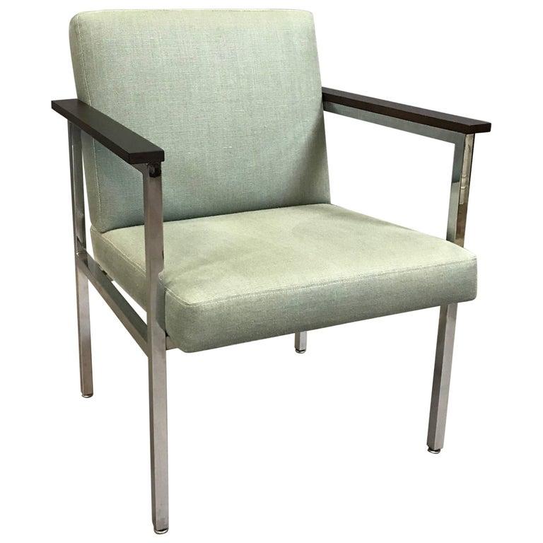 Mid-Century Modern Upholstered Chrome Armchair For Sale