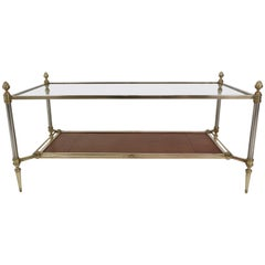 Maison Jansen Bronze, Brass and Leather Neoclassical Coffee Table