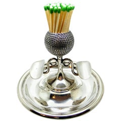 Unusual Edwardian Golf-Themed Silver Plated Match Striker/Ashtray