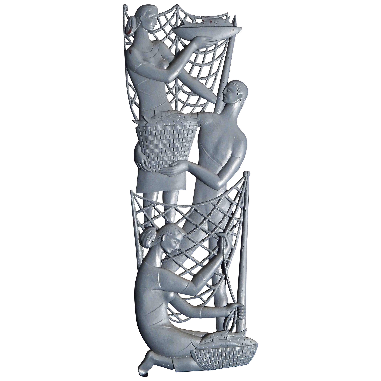 """Fisherwomen and Fisherman,"" Large, Pierced Wood Midcentury Wall Sculpture"