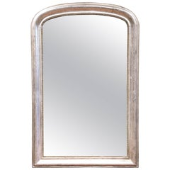 19th Century French Louis Philippe Curved Silver Leaf Mirror with Greek Motif