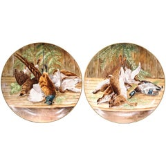Pair of 19th Century French Painted Porcelain Hunting Still Life Wall Platters