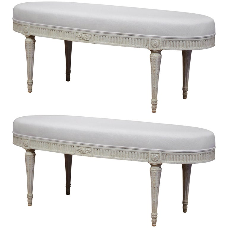 Pair of 19th Century French Louis XVI Carved Painted Upholstered Oval Benches