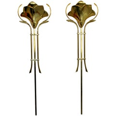 Mid-Century Modern Frederick Cooper Pair of Hanging Brass Wall Sconces, 1960s