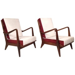 Pair of Gio Ponti Walnut Chairs Model No 516 for Cassina, 1950s