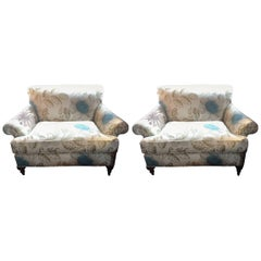 Luxurious Pair of Oversized English Style Upholstered Chairs