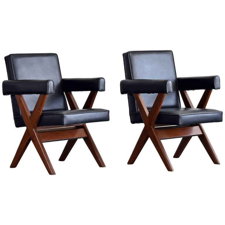 Pierre Jeanneret, Pair of Office Chairs, Teak and Black Leather, 1960 For Sale
