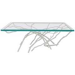 Contemporary Rustic Style White Painted Iron Faux Twig Design Coffee Table