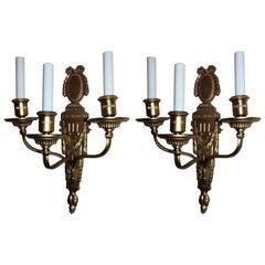 Pair of Gilt Bronze Neoclassical Bow Top Wreath Regency Sconces E.F. Caldwell