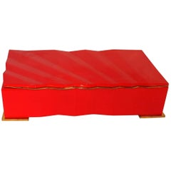 Fine Mid-Century Modern Red Lacquered Brass Lorin Marsh Deco Transitional Box
