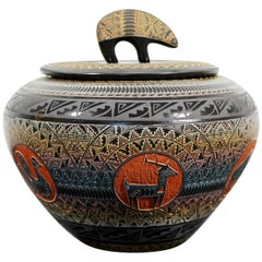 Marvin Blackmore Geo Series New Mexico Ceramic Lidded Vessel Pottery Bowl