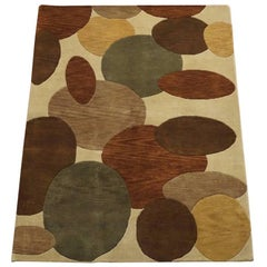 Modern Tibetan Area Rug with Round Overlapping Shapes