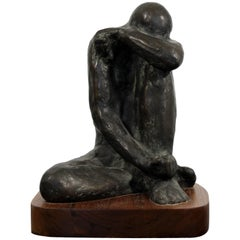 Despair Bronze Figurative Table Sculpture by Charles Masse 3/12, 1989