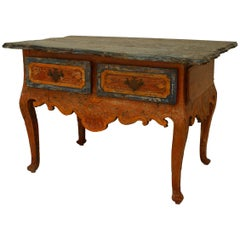 Rustic Continental 'Portuguese' 18th Century Orange and Blue Painted Commode