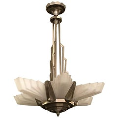 French Art Deco Skyscraper Chandelier Signed by Atelier Petitot