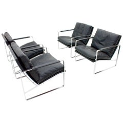 Set of Four Preben Fabricius Lounge Chairs in Black Leather by Walter Knoll 1972