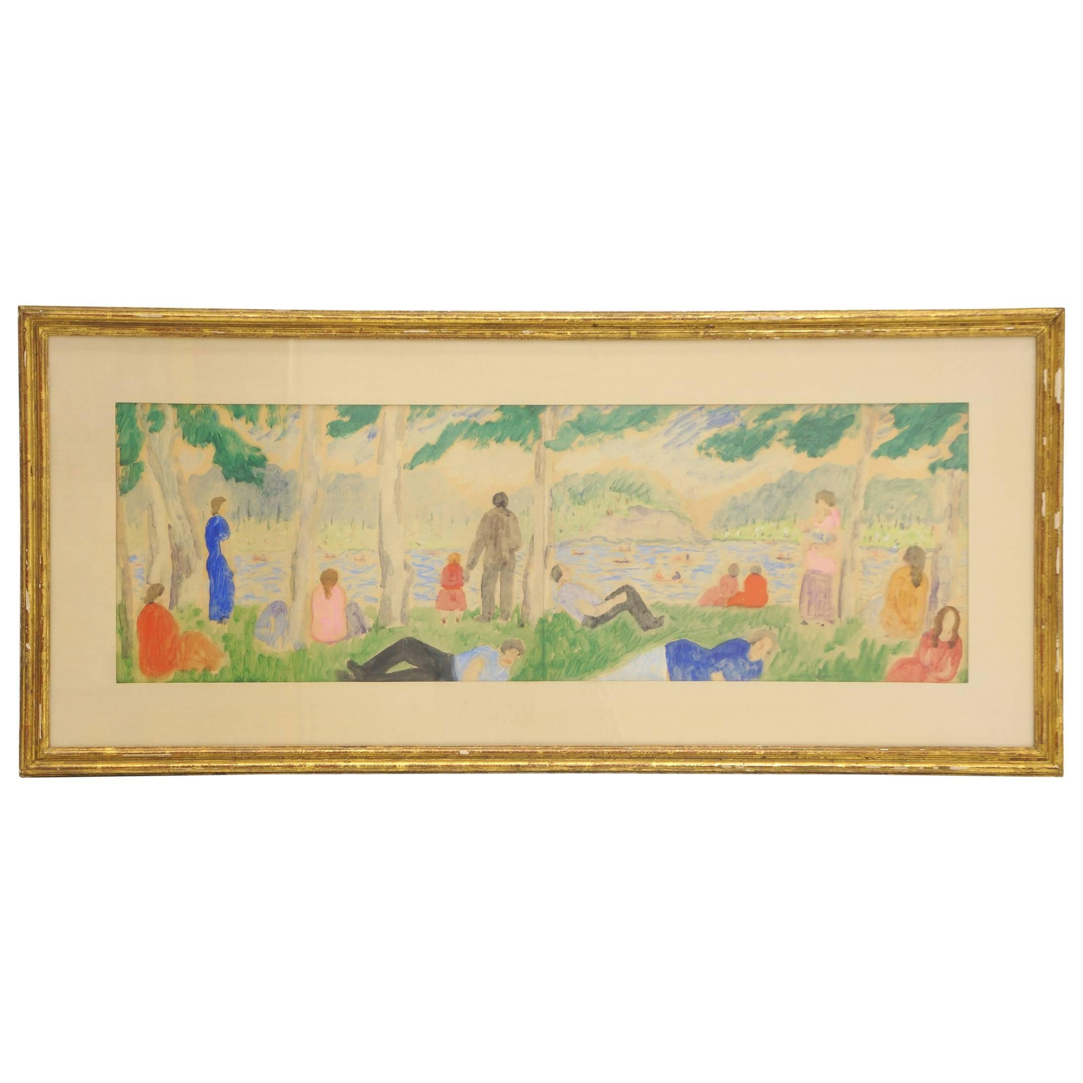 Watercolor by Abraham Walkowitz, Title Bathers on Grassy Shore, circa 1920-1925