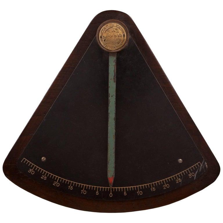 Teak and Brass Ship's Clinometer, circa 1970s
