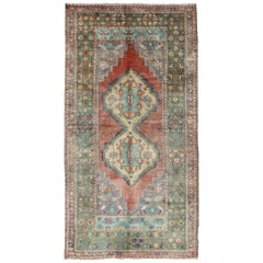 Green and Orange Turkish Oushak Rug Vintage Dual Diamond Medallions