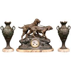 19th Century French Three-Piece Mantel Set Clock with Dogs Signed C. Valton