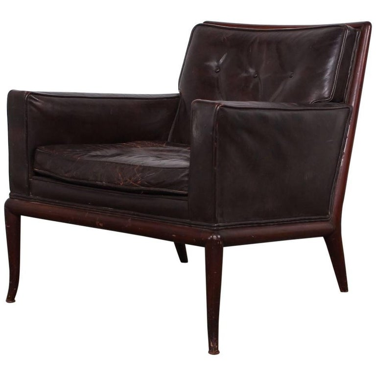 T.H. Robsjohn-Gibbings Lounge Chair in Original Leather