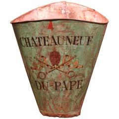 19th Century French Hand-Painted Tole Grape Basket from the Rhone Wine Valley