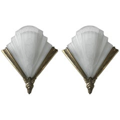 Pair of Frontisi Flower Wall Sconces French Art Deco