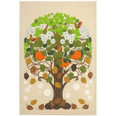 Seasons Tree Print on Cloth by Toni Hermansson for Almedahls, Sweden, 1960s