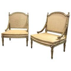 Pair of Gilt Mahogany Louis XVI Bergère Chairs