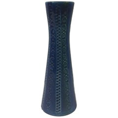 Blue and Black Sgrafitto Bud Vase by Bitossi for Raymor