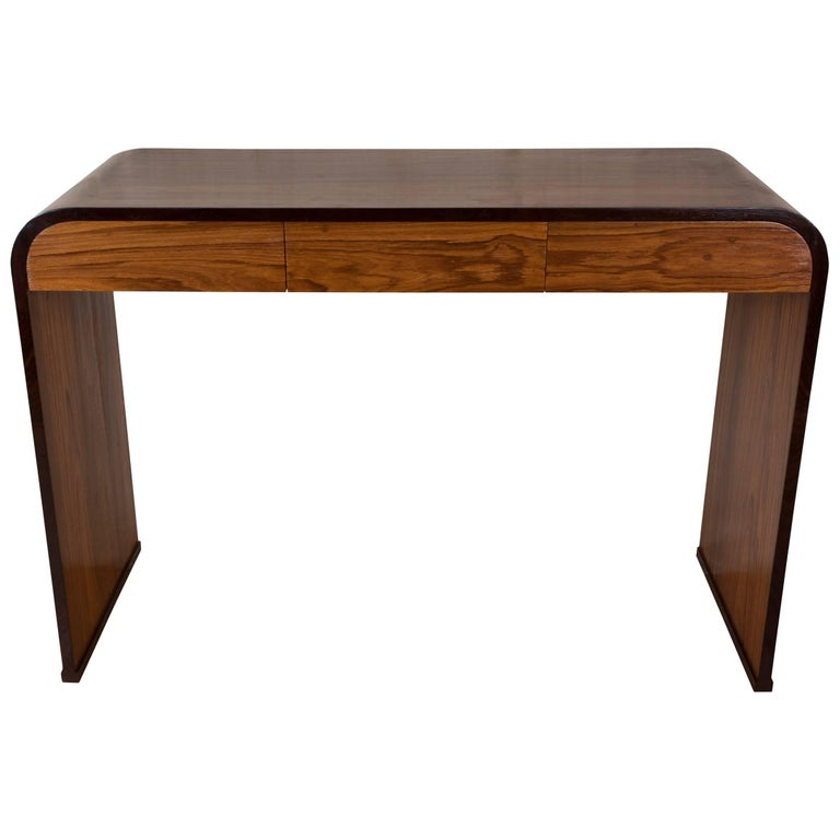 Mid-Century Modern Teak and Rosewood Waterfall Desk For Sale