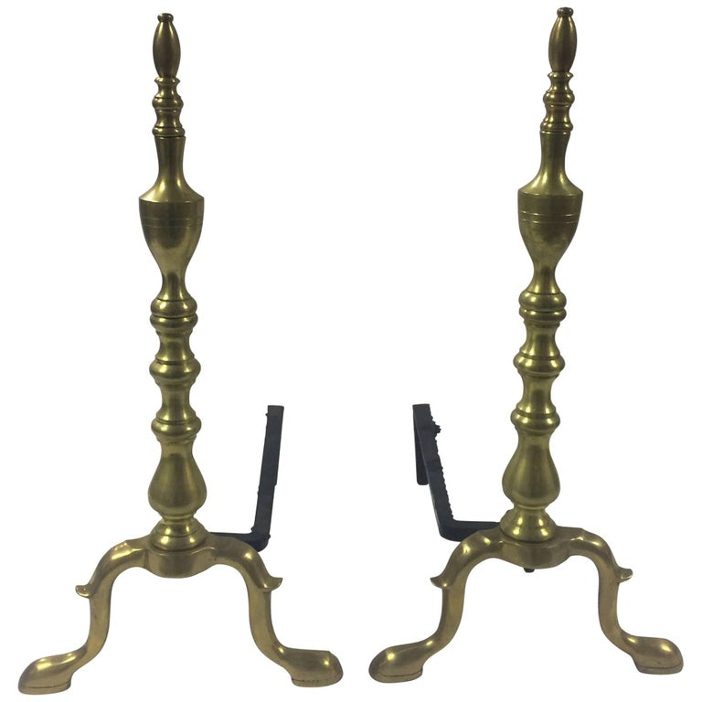 Vintage 1940s Traditional Polished Brass Andirons 1