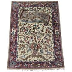 Rare Pure Silk Persian Farahan, Inscribed