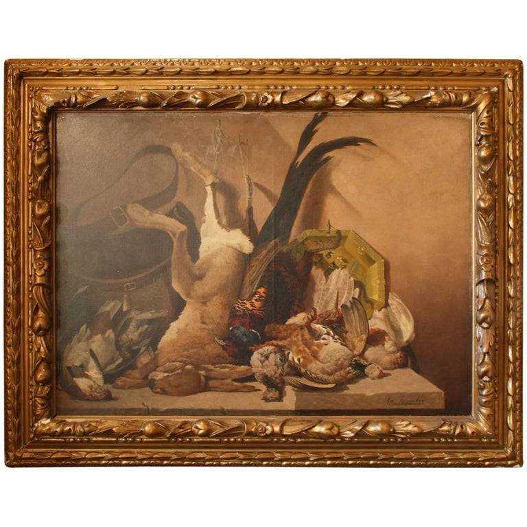 Gilt Framed French Still Life Oil Painting on Canvas