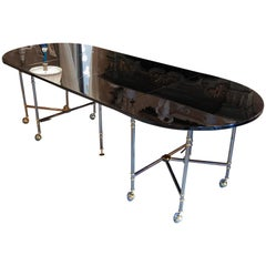 "Table ""Royale"" by Maison Jansen in Steel, Brass and Black Lacquered Finish"